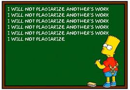 """Bart Simpson character at blackboard writing, """"I will not plagiarize another's work"""" repeatedly"""