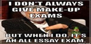 """Dos Equis guy saying, """"I don't always give make-up exams, but when I do, it's an all essay exam"""""""