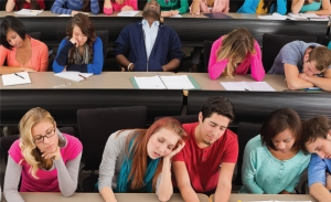 Two rows of college students, all asleep in class