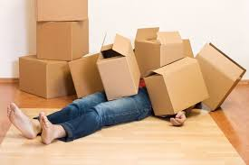 Several empty cardboard moving boxes