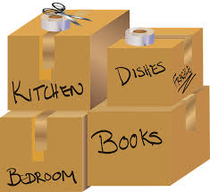 Several moving boxes, each with different label: kitchen, dishes, bedroom, and books
