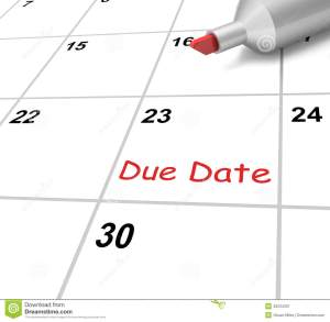 """Images shows part of a calendar, with one date in red and says """"Due Date"""""""