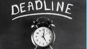 """Picture of old fashioned alarm clock and above it, the word """"Deadline"""""""