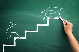 Chalkboard graphic: stick figure human climbing steps; on top step is a mortarboard signifying graduation