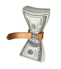 Picture of wad of money with a belt around the middle of the stack. Belt being pulled very tight