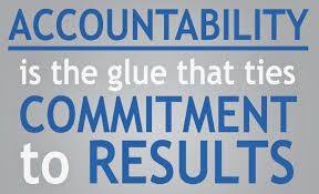 """Poster that says """"Accountability is the glue that ties commitment to results"""""""