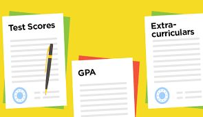 "Three sheets of paper, labeled ""Test scores,"" ""GPA,"" and ""Extra curriculars"""