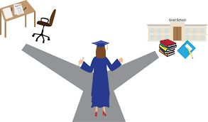 Woman standing on road with two branches - one shows a career path and other, graduate school