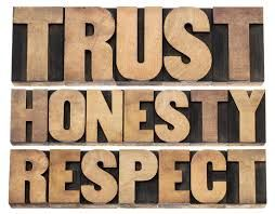 Three rows of words: Trust, Honesty, Respect