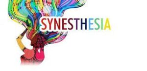 "The word ""synesthesia,"" with each letter in a different color font"