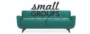 "Green couch. Text says ""Small groups, because life is better when you're doing it together"""