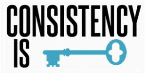 "Graphic: Text says ""Consistency is"" and then there is an old-fashioned key"