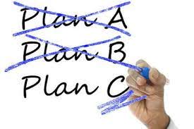 Text: Plan A (crossed out); Plan B (crossed out); Plan C