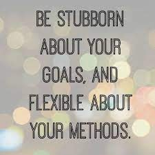 """Text: """"Be stubborn about your goals, and flexible about your methods."""""""