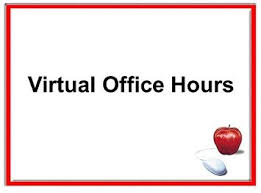 "Picture that says ""virtual office hours"" and also has red apple and computer mouse"