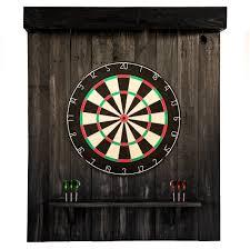 dartboard in wooden cabinet